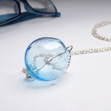 pendant hollow beads glass light blue - made to order - bubble pendant - bubble necklace