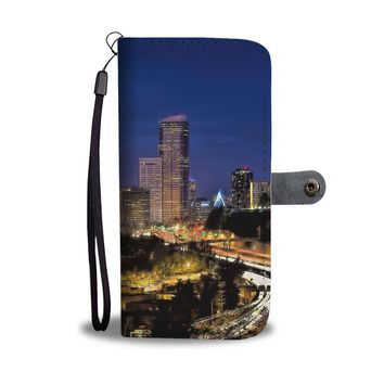 Downtown Seattle at Night Phone Wallet Case