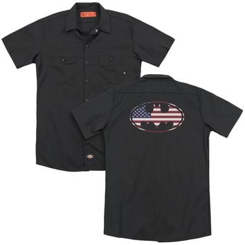 Batman - American Flag Oval (Back Print) Adult Work Shirt