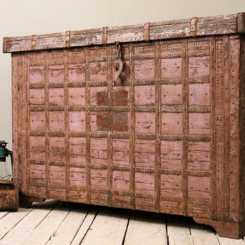 SALE Antique Indian Dusty Rose Global Warm Industrial Storage Trunk Sideboard Media Console