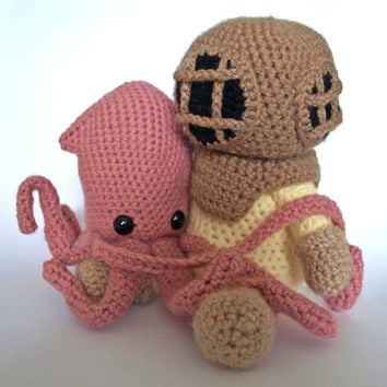 Deep Sea Diver AND Squid  Crochet Patterns by MrFox on Etsy