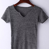 Grey Short Sleeve V Neck Ribbed T-shirt