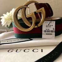 GUCCI Black Leather/Web Belt Double G GG Buckle Women Size 80 100% Authentic