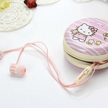 Comfy & Soft Earphone with Pouch/Case in Hello Kitty Style