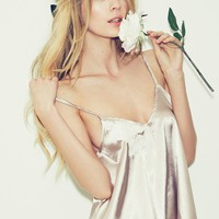SKIVVIES by For Love & Lemons Le Fleur Night Top in Champagne/Ivory
