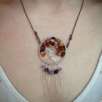 Mookaite Jasper, Red Agate, & Amethyst Tree of Life Dream Catcher Pendant Necklace, roots, healing gemstone chakra, boho jewelry necklace