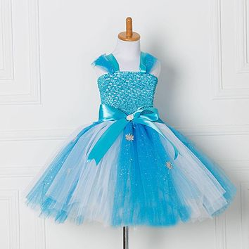 Tulle Tutu Dress Princess Anna Elsa Dress Snow Queen Halloween Party Vestidos Cosplay Costume Girl Dress Summer Girls Clothes