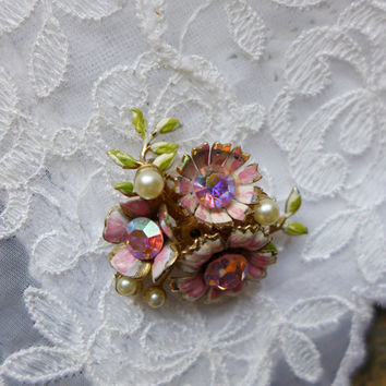 Vintage  Pink Rhinestone Pin Flower Rhinestone Brooch Pink Jewelry Coro Costume Jewelry Pink Rhinestone and Pearl Pin Valentine Gift for Her