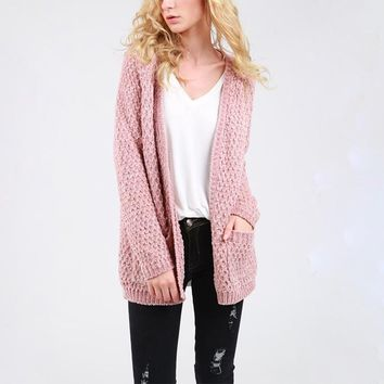 Cara - open front velvet chenille cardigan with front pocket - canyon rose