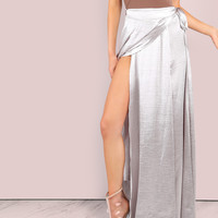 Shiny Faux Satin Wrap Skirt Silver