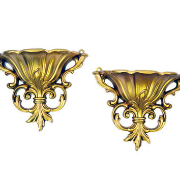 Vintage Syroco Gold Wall Sconces Ornate Wall Pockets, Gold Wall Decor