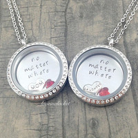 Matching Mother Daughter Necklaces, No Matter Where Necklace, Floating Locket, Mother Daughter Lockets, Mom Daughter Jewelry, Mother's Day