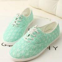 Fashion Leisure Lace green cloth shoes