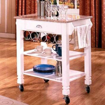 White and Marble Top Kitchen Island