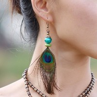 Bohemian Peacock Feather Earrings