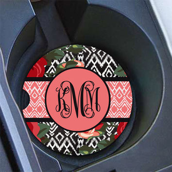 Ikat car coaster, Floral car cup holder coaster, Pretty car accessory, Roses car decoration for women, Pink mauve roses black Ikat (1587)