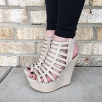 Mile High Wedges- Nude