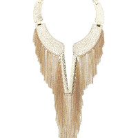CHAIN TASSEL CUT OUT NECKLACE