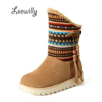 2016 new Snow Boots platform women winter shoes waterproof ankle boots lace up fur boo