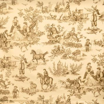 Vervain Fabric 0578907 Cavalier Toile Brown On Ecru