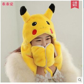 LMFET7 lovely pokemon pikachu plush hat with gloves pikachu plush anime cosplay long earflap warm hat toy gift t6632
