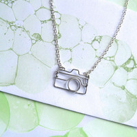 Camera Necklace - Gift for a Photographer - Silver Wire Camera Outline - nikon, canon