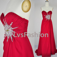 Strapless Sweetheart Floor Length Chiffon Red Prom Dress Bridesmaid Dress Party Dress, Evening Gown