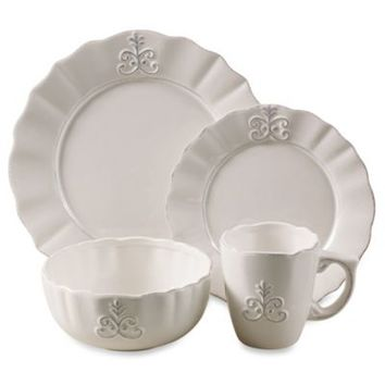 American Atelier Bianca Fleur 16-Piece Dinnerware Set in White