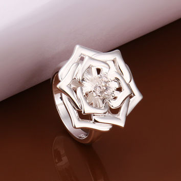 Three Flowers Silver Ring