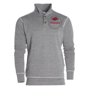 Official NCAA University of Arkansas Razorbacks GO BIG RED HOGS! Arkansas Fight Women's Boyfriend Fit Triblend 1/4 Button Pullover Full Sleeve O-Neck Durable Premium Sweatshirt