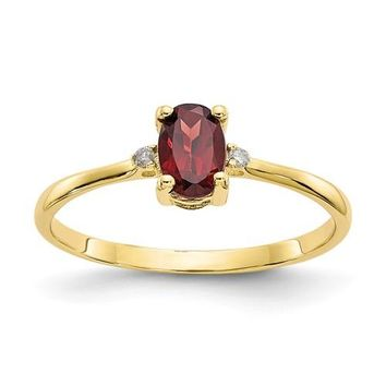 14k or 10k Yellow Gold Diamond & Garnet January Birthstone Ring