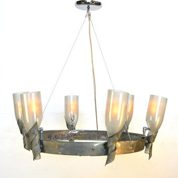 "ELEGANCE HALO -- ""Caisson"" -- Wine Barrel Ring and bottle Chandelier -- 100% RECYCLED"