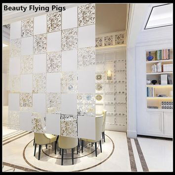 Room divider Screen Biombo Room Partition Home Decoration Partitions 4pcs/lot PVC Wall stickers Cutout Home Screen Folding DIY