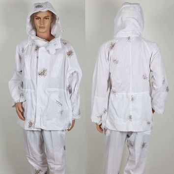 Jacket style white snow Camouflage Ghillie Suits Hunting 3D Bionic color Polyester and cotton Material Hunting clothes