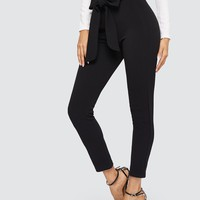 Paperbag Waist Skinny Pants With Belt