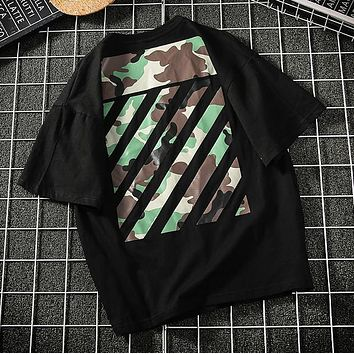 Off White Fashion New Camouflage Stripe Women Men Top T-Shirt Black