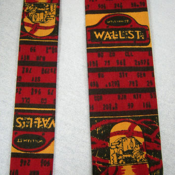 Vintage 60s WALL STREET Tie by ROOSTER Necktie Skinny Rat Pack  Hipster