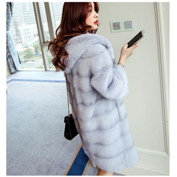 High quality Mink cashmere fur coat women large long thick faux fur coat artificial fashion mink wool hooded fur coat
