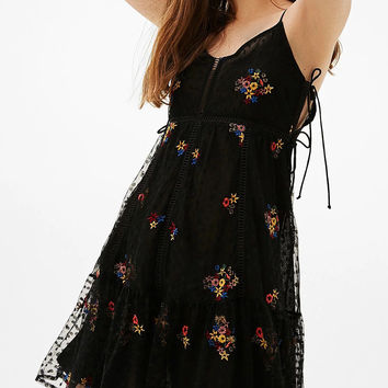 Black V-neck Embroidery Tie Side Mesh Overlay  Strap Mini Dress