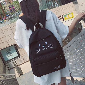 Teen Cute cat backpack school bags for teenagers girls Printing Backpack canvas big Book bag youth Lovely bagpack Women back bag