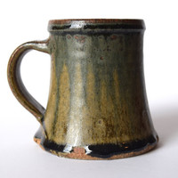 Handmade Ash Glazed Coffee Mug Tea Mug with Cobalt Drips