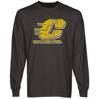 Central Michigan Chippewas Distressed Primary Long Sleeve T-Shirt - Charcoal
