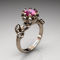 Unique 14K Rose Gold 1.0 Ct Pink Sapphire Diamond Lifetime Flower Engagement Ring Wedding Ring R1032-14KRGDPS