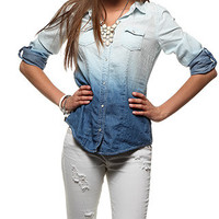rue21 :   DIP DYE DENIM SHIRT