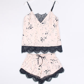 Sleepwear Summer Print Spaghetti Strap Shorts Sexy Lace Home Stylish Set [9093786698]
