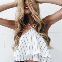 Sexy wild hanging neck vest shirt top women Chiffon Stripes