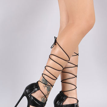 Liliana Pleated Panels Drawstring Lace-Up Stiletto Heel