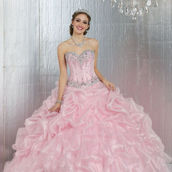 Cheap Vestidos De 15 Anos Sweetheart Beaded Princess Pink Quinceanera Dress Gowns 2017 debutante gowns Sweet 16 Dresses