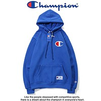 Champion chest classic big logo tide brand couple models hooded sweater Blue