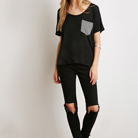 Striped-Pocket Dolman Tee